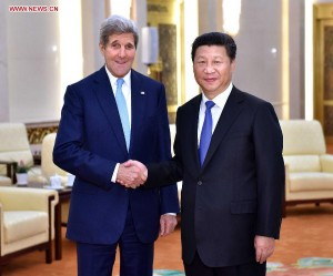 John Kerry and Xi Jinping. Credit: Xinhua News Agency.