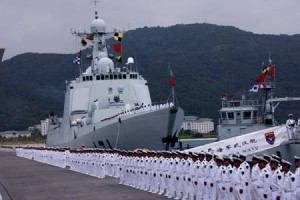A ceremony is held before a Chinese naval fleet sets sail. Source: Xinhua/Zha Chunming.