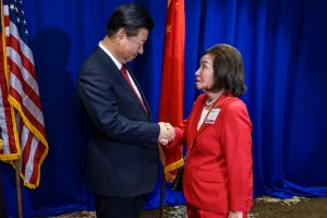 Chinese President Xi Jinping with USCPF Vice President Ernestine Wang. Photo by Alabastro Photography.