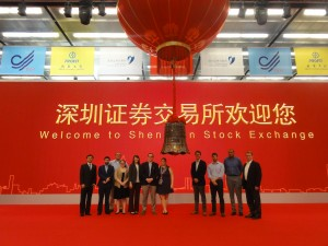 Participants visit the Shenzhen Stock Exchange