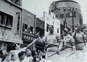 American soldiers celebrate the Japanese surrender with Chinese citizens in August 1945, Chungking (Chongqing), China.