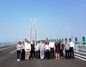 The USCPF delegation was the first group of Americans to visit the Hong Kong-Zhuhai-Macao Bridge (HZMB), which had not yet been opened to the public.