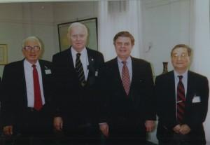 (L to R): Amb. Arthur Hummel, Jr., Amb. John Holdridge, Amb. Jim Sasser, Chi Wang