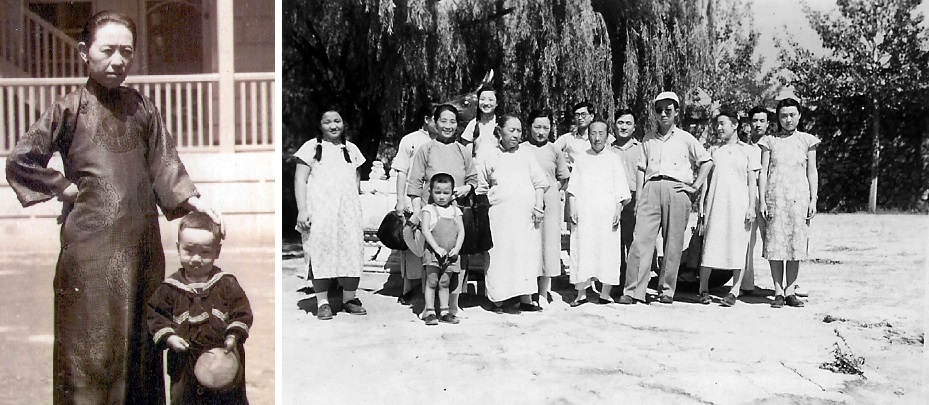 Left: Chi Wang with his mother, Lo Shuyi, in the early 1930s; Right: Chi Wang maternal family photo, 1948. This was the last photo of Chi Wang with his mother (third from left), who was killed by Red Guards during the Cultural Revolution.