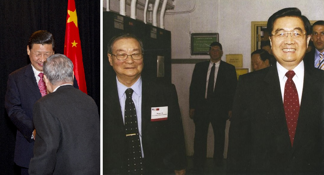 Left: Chi Wang shakes hands with then Vice President Xi Jinping, 2012; Right: Chi Wang with President Hu Jintao, 2006