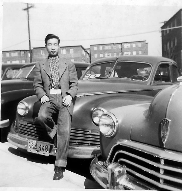 Chi Wang with his first American car, Maryland, 1950